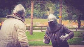 Middeleeuwse strijd Stock Afbeeldingen