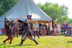 Middeleeuwse strijden Stock Afbeeldingen
