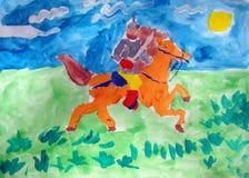 Middeleeuwse strijder op een paard - gouache het schilderen vector illustratie