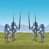 Middeleeuwse strijders op oorlog vector illustratie