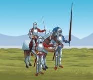 Middeleeuwse strijders op oorlog royalty-vrije illustratie