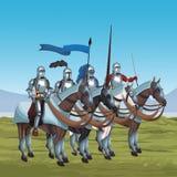 Middeleeuwse strijders op oorlog stock illustratie