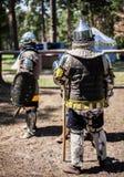Middeleeuwse strijders, ridders Stock Afbeeldingen