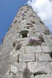 Middeleeuwse toren die, de kloosterplaats van Clonmacnoise omhoog eruit zien Royalty-vrije Stock Afbeeldingen