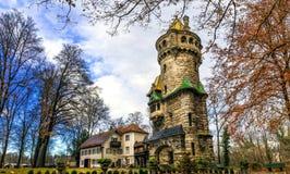 Middeleeuwse toren in Landsberg am Lech, Beieren, Duitsland stock foto's