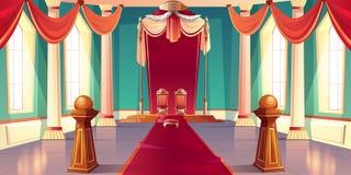 Middeleeuwse van de de troonzaal van het koningenpaleis het beeldverhaalvector vector illustratie