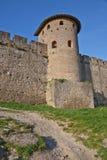Middeleeuwse versterkte muur en toren Stock Foto's