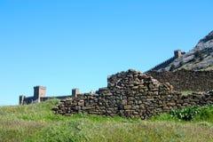 Middeleeuwse vesting, ruïnes Stock Afbeelding