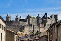 Middeleeuwse Vesting van Carcassonne Stock Fotografie