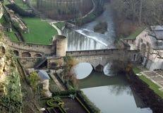 Middeleeuwse vestingwerken in Luxemburg Royalty-vrije Stock Foto