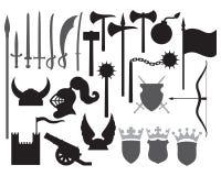 Middeleeuwse wapenspictogrammen Stock Afbeeldingen