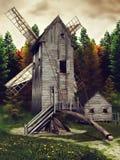Middeleeuwse windmolen en loods vector illustratie