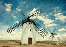 Middeleeuwse Windmolens royalty-vrije stock fotografie