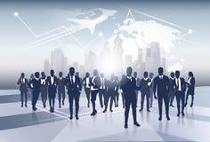Middelen de bedrijfs van Team Silhouette Businesspeople Group Human over het Concept van de de Reisvlucht van de Wereldkaart vector illustratie