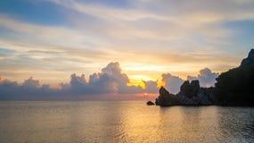 Middellandse Zee, Cirali-Strand dageraad Stock Foto's
