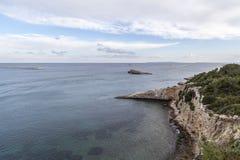Middellandse Zee mening van vooruitzicht Dalt Vila in Ibiza royalty-vrije stock afbeeldingen