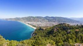 Middellandse Zee - Panorama Alanya, Turkije Royalty-vrije Stock Afbeelding