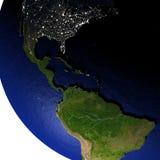 Midden-Amerika bij nacht op model van Aarde met in reliëf gemaakt land Royalty-vrije Stock Fotografie