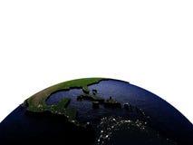 Midden-Amerika bij nacht op model van Aarde met in reliëf gemaakt land Royalty-vrije Stock Foto's