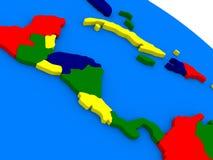 Midden-Amerika op kleurrijke 3D bol royalty-vrije illustratie