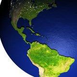 Midden-Amerika op model van Aarde met in reliëf gemaakt land Stock Foto