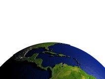 Midden-Amerika op model van Aarde met in reliëf gemaakt land Stock Afbeeldingen