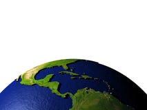 Midden-Amerika op model van Aarde met in reliëf gemaakt land Stock Foto's