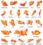 Midden-Oosten en de Arabische vectorkaarten van landen Royalty-vrije Stock Afbeelding
