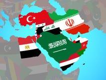 Midden-Oosten met vlaggen op kaart vector illustratie