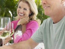 Midden Oud Paar met Wijn bij Openluchtlijst Stock Fotografie