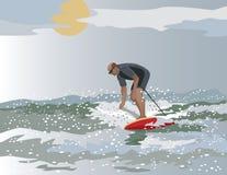 Midden Oude Kerel Surfer Stock Foto