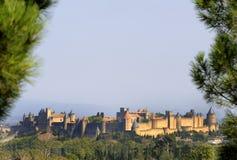 Midden oude stad van Carcassone. Royalty-vrije Stock Foto's