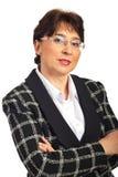 Midden oude uitvoerende vrouw met glazen stock afbeeldingen
