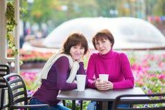 Midden oude vrouw en haar gegroeide dochter Royalty-vrije Stock Foto's