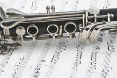 Midden van een klarinet met sleutels Royalty-vrije Stock Afbeeldingen