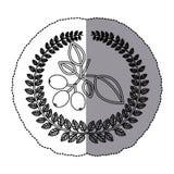 middenschaduw zwart-wit sticker met olijfkroon met de tak van de koffieboom Royalty-vrije Stock Foto