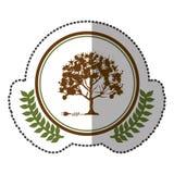 middenschaduwsticker kleurrijk met olijfkroon met boom en stopschakelaar in cirkel Stock Afbeeldingen