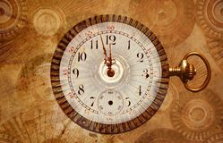 Middernacht bijna steampunk Nieuwjaar Stock Afbeelding