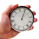 Middernacht of middag op retro horloge. Royalty-vrije Stock Foto's