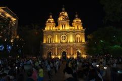 Middernachtkerk in het maanlicht van Peking Stock Fotografie