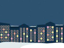 Middernachtstad, Real Estate, de Winterthema Royalty-vrije Stock Afbeeldingen