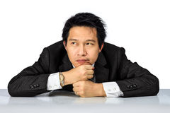 Middle age Asian business man with tired posture Stock Images