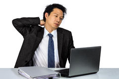 Middle age Asian business man with tired posture Royalty Free Stock Photography