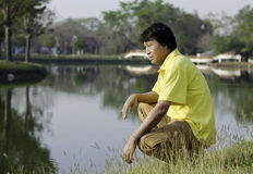 Middle age asian man Stock Photos