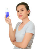 Middle age asian woman with cosmetic cream Stock Images