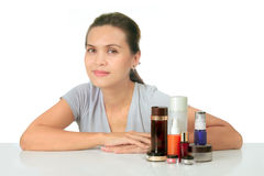 Middle age asian woman with cosmetic cream Royalty Free Stock Photo