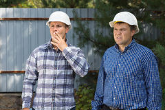 Middle Age Building Planners at Construction Site Stock Photo