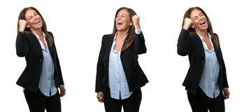 Middle age business woman with long hair royalty free stock photography