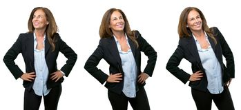 Middle age business woman with long hair. Middle age business woman confident and happy with a big natural smile laughing over white background stock photography