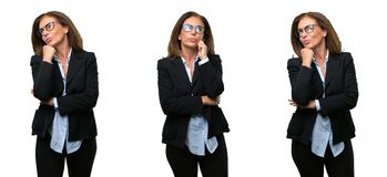 Middle age business woman with long hair stock photo